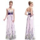 Letní dámské společenské, dlouhé šaty bez ramínek růžové s fialovým potiskem Ever Pretty 8007