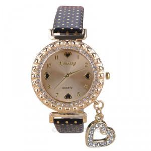 Módní zlaté dámské hodinky s krystaly a přívěškem srdce - 5 barev