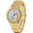 Luxusní zlaté dámské hodinky s krystaly a motýli - zlaté