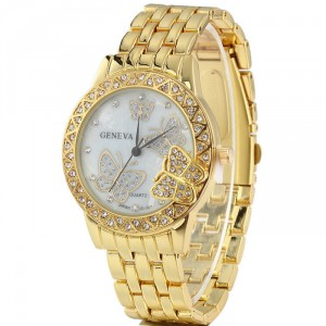 Luxusní zlaté dámské hodinky s krystaly a motýly