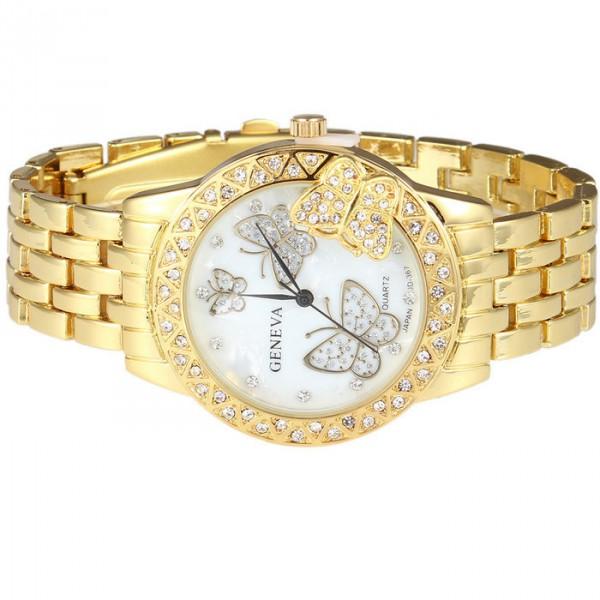 Luxusní zlaté dámské hodinky s krystaly a motýly - Angel fashion 0a7d8b6b65b