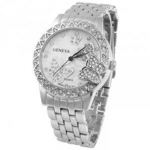 Luxusní zlaté dámské hodinky s krystaly a motýli - stříbrné