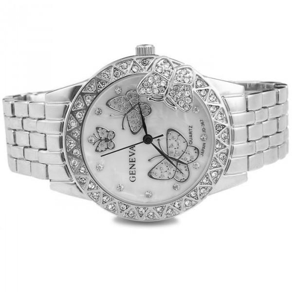 Luxusní zlaté dámské hodinky s krystaly a motýli - stříbrné - Angel ... 9a10258bed