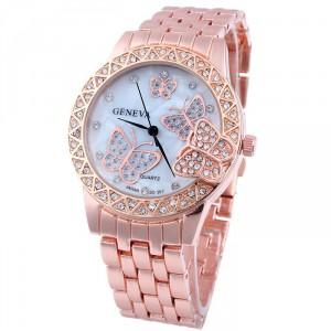 Luxusní zlaté dámské hodinky s krystaly a motýli - růžové - Angel ... c76158445d
