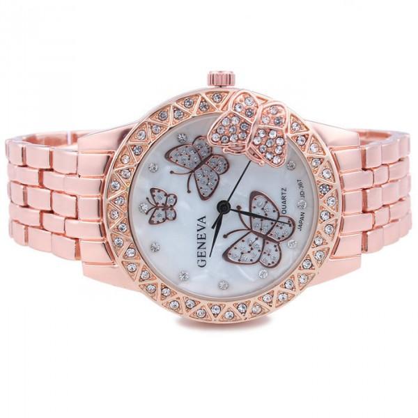 Luxusní zlaté dámské hodinky s krystaly a motýli - růžové - Angel ... df76ecd41ee