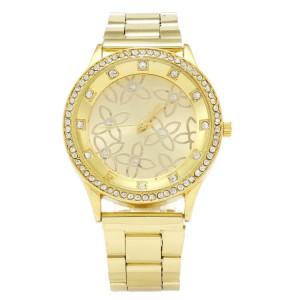 Luxusní zlaté dámské hodinky s krystaly a květinami - zlaté