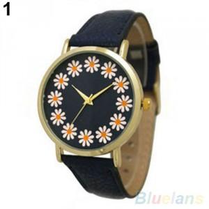 Dámské hodinky s kopretinami - černé