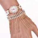 Moderní retro dámské hodinky s krystaly a provázky - bílé