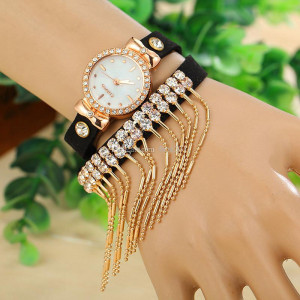 Moderní retro dámské hodinky s krystaly a provázky - černé