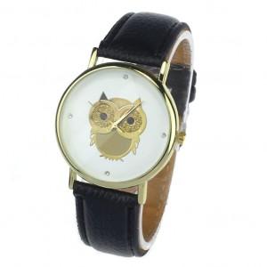 Dámské hodinky zlatý ciferník - sovička - černé
