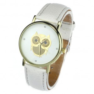 Dámské hodinky zlatý ciferník - sovička - bílé