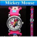 Dětské, dívčí, silikonové hodinky s myškou Minnie Mouse - růžové