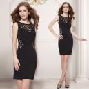 Sexy černé dámské společenské šaty s průstřihy 5176