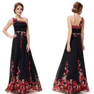 Fascinující černé společenské dámské šaty Ever Pretty na jedno rameno 8246