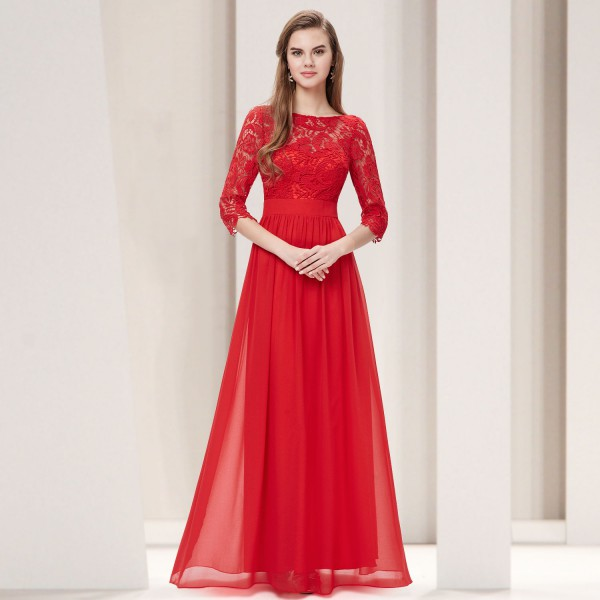 Elegantní společenské šaty s krajkou a rukávky 8412 - červené 0bd8bfdb55
