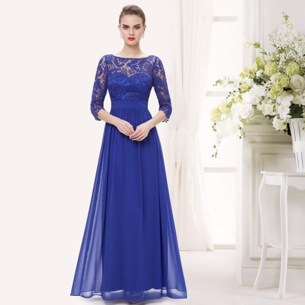 6b01c4387930 Elegantní společenské šaty s krajkou a rukávky 8412 - červené