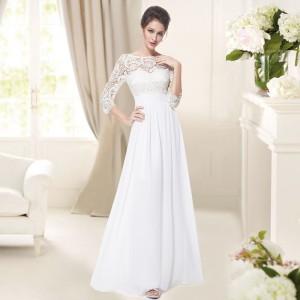 Elegantní společenské šaty s krajkou a rukávky 8412 - bílé