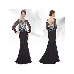 Luxusní krajkové černé společenské šaty s rukávy 8363