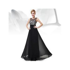 Luxusní krajkové černé společenské šaty bez rukávů 8428