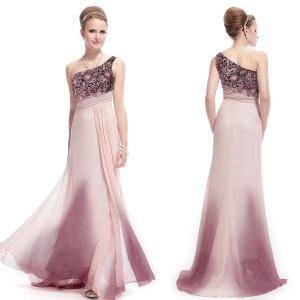 Luxusní krajkové červánkové společenské šaty na jedno ramínko 9998