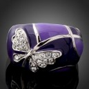 Luxusní prsten, bílé zlato, motýl Swarovski krystal J0535