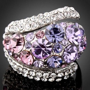 Luxusní prsten bílé zlato, amethyst Swarovski krystal J0078