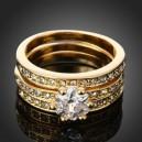 Luxusní prsten, žluté zlato, bílý Swarovski krystal J0151