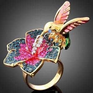 Luxusní prsten, květina s ptáčkem kolibříkem Swarovski krystal J1494