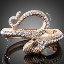 Luxusní zlatý náramek, bílý swarovski krystal, had B0002