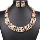 Luxusní set - štrasový náhrdelník + náušnice s barevnými perlami