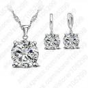 Dámský set - náhrdelník + náušnice bílý Swarovski krystal