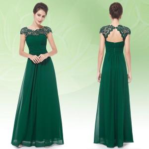 Elegantní společenské šaty s krajkou v dekoltu 9993 - lahvově zelené