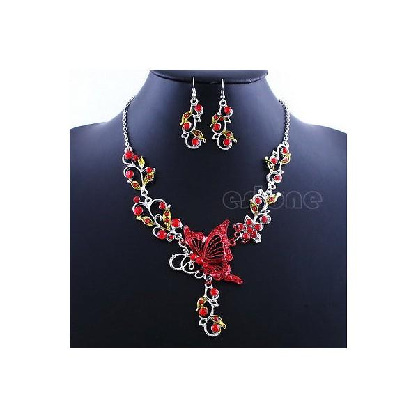 defbad6e6 Luxusní set - štrasový náhrdelník + náušnice barevný krystal - motýl ...