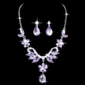 Luxusní set - náhrdelník + náušnice fialový, modrý Swarovski krystal