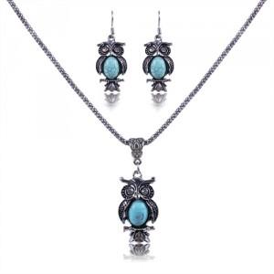 Dámský set - stříbřitý náhrdelník + náušnice sova tyrkysový krystal
