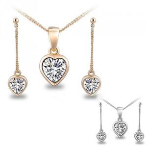 Dámský set - náhrdelník + náušnice bílý Swarovski krystal srdíčko - stříbrný, zlatý