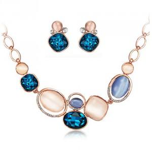 Luxusní zlatý dámský set -  náhrdelník + náušnice barevný velký krystal