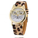 Zajímavé dámské hodinky kočka s brýlemi - zvířecí opasek