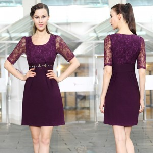 Elegantní fialové společenské fialové šaty s rukávy Ever Pretty 3811