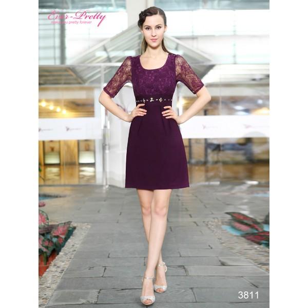 43f529c686b Elegantní fialové společenské fialové šaty s rukávy Ever Pretty 3811 ...