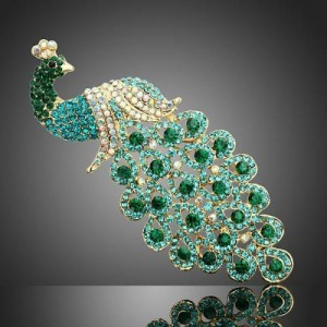 Luxusní módní brož - páv, smaragd Swarovski krystal P0368