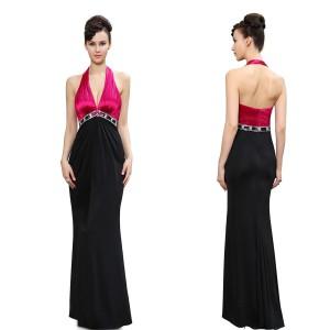 86994b47c939 Večerní společenské dámské šaty černorůžové s ohlávkou - Angel fashion