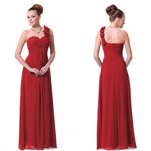 Nebesky jemné společenské šaty na jedno květinové ramínko 8237 - červené