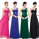 Úchvatné společenské šaty na jedno ramínko s výšivkou a kamínky 8077 - 4 barvy