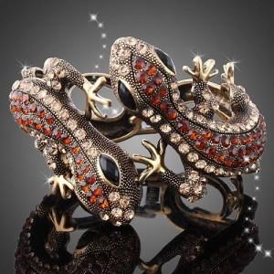 Luxusní zlatý náramek, ještěrka červený swarovski krystal B0004