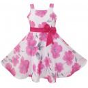 Dětské, dívčí letní šaty bílé s růžovými květy