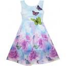 Dětské, dívčí letní šaty s vyšívanými motýlky