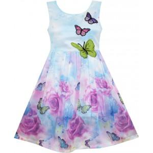 Dětské, dívčí letní šaty jemně modré s vyšívanými motýlky