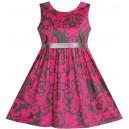 Dětské, dívčí letní elegantní šaty růžové s kávovými ornamenty