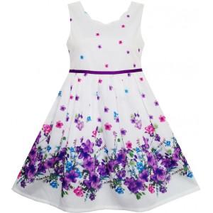 Dětské, dívčí letní šaty bílé s fialovými kytičkami